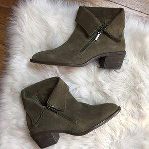 Sole Society Nickelle Side Zip Boots Antique Green